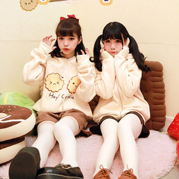 Soft sister cream yellow Cookie printing hoodie and jacket women outerwear Japanese sweet loose Hooded Fleece sweater coat