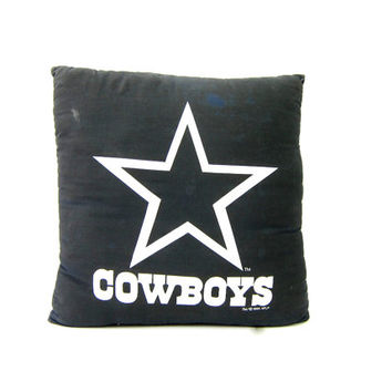 Vintage Dallas Cowboys pillow Extra Large Black Throw Pillow Sporty NFL Football home Decor Bedding dated 1995