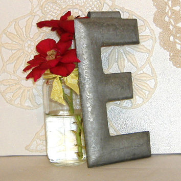Industrial Salvage Vintage Marquee Letter E c1900 Metal Architectural 6 Inch Metal Initial Alphabet Font