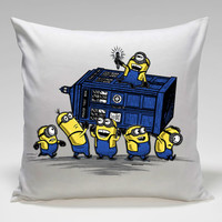 minions bring tardis box Square Pillow Case Custom Zippered Pillow Case one side and two side