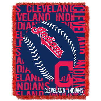Indians  48x60 Triple Woven Jacquard Throw - Double Play Series