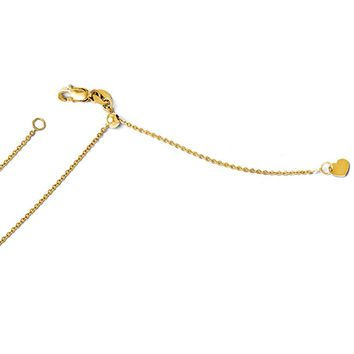 1mm 14k Yellow Gold Adjustable Flat Cable Chain Necklace, 22 Inch