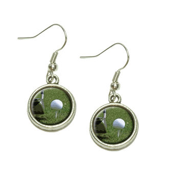 I'd Rather Be Driving a Golf Ball Dangle Drop Silver Charm Earrings