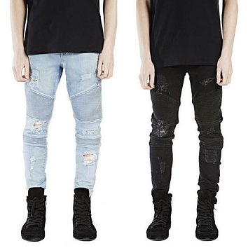 Mens Skinny Jeans Men Slim Fit Pleated Punk Biker Ripped Denim Hip Hop Motorcycle Rock Rap Jeans Blue Black Khaki Pant Plus Size