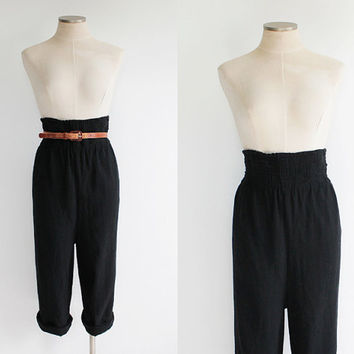 Vintage 80s Isaac Mizrahi Black Wool Knit Harem Pants | small 4