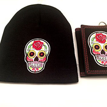 White Sugar Skull Beanie Day of the Dead Clothing Knit Cap and Wallet