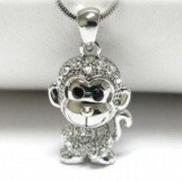 NEW CRYSTAL MONKEY PENDANT NECKLACE WHITE GOLD PLATED
