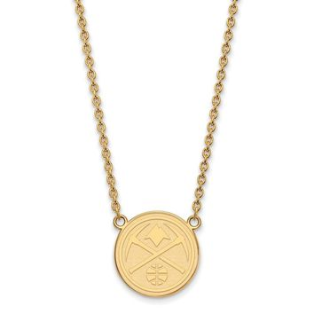 NBA 14k Gold Plated Silver Denver Nuggets Lg Pendant Necklace, 18 in