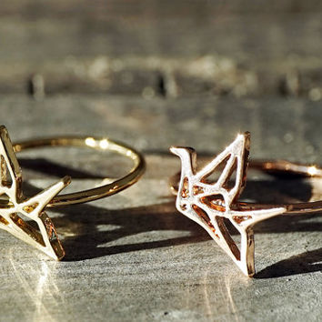 Gold and rose gold dainty origami crane bird ring (RI00012)