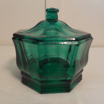 "Green Glass Candy Dish 5 1/2"" Tall, Vintage Dark Green Dish with Lid, Beautiful Glass Dish For Display in Your Home, Gift Glass"