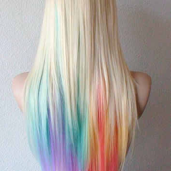 Summer Special // Blonde Pastel rainbow color combre wig. Pastel color Long straight colored hair wig. Lolita blonde color hair wig.