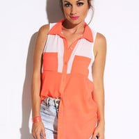 Orange Color Block Button Up