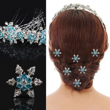 5pcs/lot Snow Hair Clip Ornament Crystal Flower Hair Pins Swirl Spiral Twist Snowflake Hairpin Wedding Bridal Jewelry U-Clip