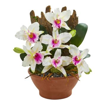 Artificial Flowers -Cattleya Orchid White Arrangement in Clay Vase