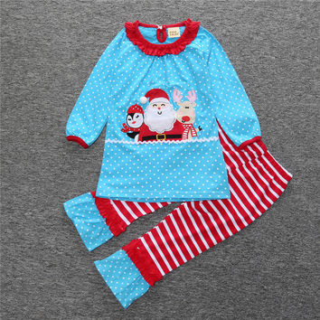 Boutique Giggle Moon Children Christmas Sets Santa Claus Top Stripes Cotton Pants Baby Girls Fall Winter Remake Clothing