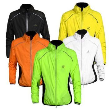 High-Visibility Lightweight Running Jacket Reflective Long Sleeve Packable Rain Coat Outdoor Sports Exercise Training Windproof