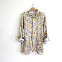 vintage yellow floral shirt. abstract graphic shirt. long sleeve top. rayon shirt