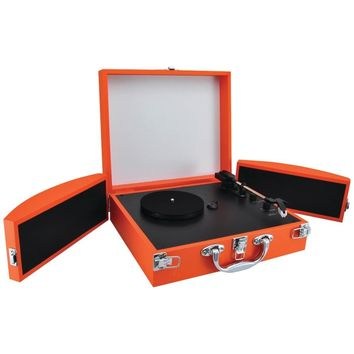 PYLE PVTTBT8OR Bluetooth(R) Classic Vinyl Record Player Turntable with Fold-Out Speakers & Vinyl to MP3 Recording (Orange)