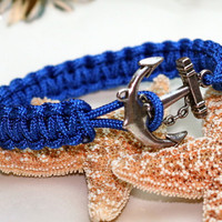 Anchor Bracelet Blue Square Knot Cuff Style