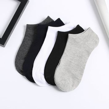 1 Pair Fashion Men's Antibacterial Deodorant Breathable Spring Summer Pure Color Soft Cotton Socks New