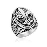 Sterling Silver Oval Fleur De Lis Ring with Diamonds: Size 8