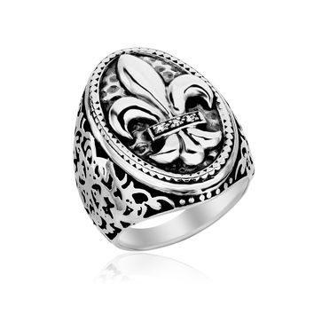 Sterling Silver Oval Fleur De Lis Ring with Diamonds