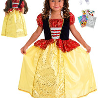 Little Adventures Snow White Princess Dress size 7-9 with Doll Dress, Hairbow & Coloring Book