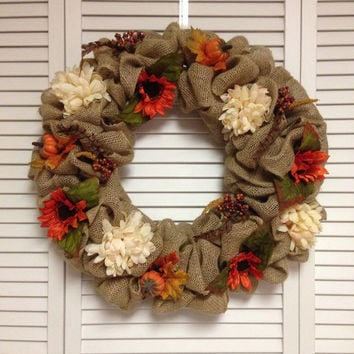 "FREE SHIPPING! Fall Wreath, 21"" Large Fall Burlap Wreath with Fall Flowers and Accessories"
