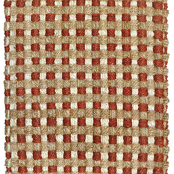 Mixed Jute Weaves Area Rug in Rust and Natural design by Classic Home