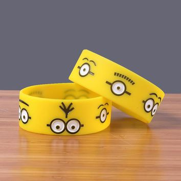 yellow silicone bracelet Despicable Me Minions Eyes rubber wristband Wide comic silicone band Debossed rubber bangle