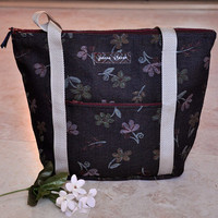 Beautiful denim tote bag, navy blue floral zippered tote purse with pockets, womens handbags, one of a kind bag, shoulder bag purse