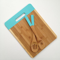 Bamboo Cutting board & Utensil Hostess Set - Teal