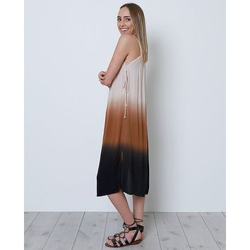Set The Mood Dip-Dye Dress - Taupe/Black
