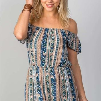 Ladies fashion navy mix print off the shoulder romper