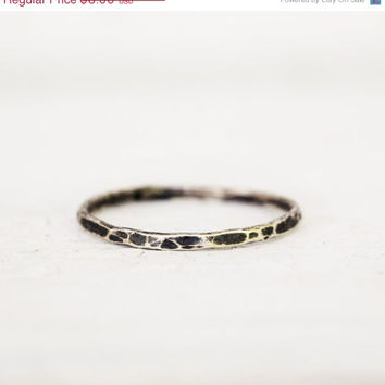 On Sale Sterling Silver Rustic Stacking Ring  - Hammered Silver Stack Ring - Thin Stack Ring - Hand Forged - Custom Made