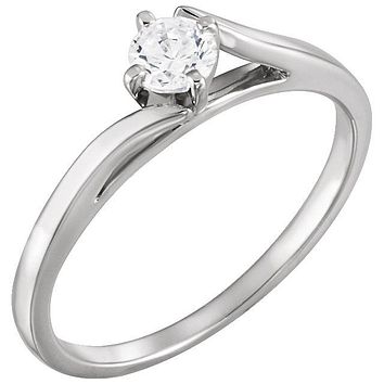 Cubic Zirconia Engagement Ring-*Clearance* The Dell Cathedral Bypass Solitaire with 0.23 Round Cut Center Stone in Sterling Silver