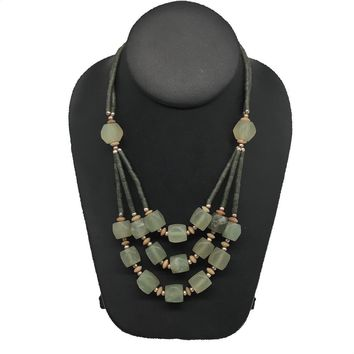 "1pc, Multi-Strands Green Nephrite Jade Beaded Necklace @Afghanistan,18"" NPH38"