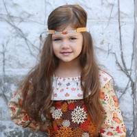 Rhinestone Forehead Headband - Pumpkin Headband - Autumn Headband - Fall Headband Photo Prop - Girls Orange Head Band for Thanksgiving -