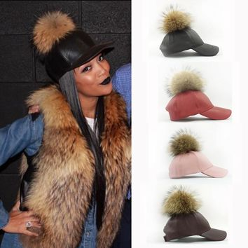 2016 Fashion Real Raccoon Fur Pompoms Hats Hip Hop PU Leather Baseball Cap women Fur Pom Pom Snapback  Hat Caps