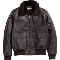 H&M - Leather Jacket - Dark brown - Men