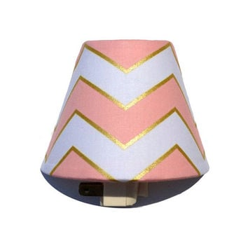 Glitz Chevron Night Light / Baby Girl Nursery Decor / Bathroom Girls Room Bedroom / Michael Miller Glitz Metallic Chic Chevron Blush