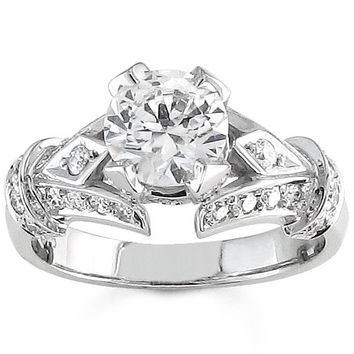 Ladies 14kt white gold vintage engagement ring 0.50 ctw G-VS2 quality diamond with 1.50ct round natural white sapphire center