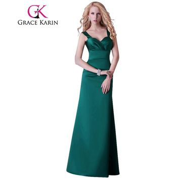 Grace Karin Dark Emerald Green Evening Dresses Women Elegant Long Evening Gowns Slim Formal Party Dress with Straps GK3463