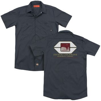 Star Trek - Cochrane Library (Back Print) Adult Work Shirt