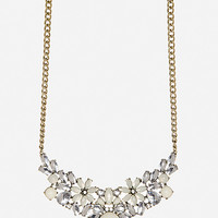 DailyLook: DAILYLOOK Antiqued Floral Gem Necklace in Ivory