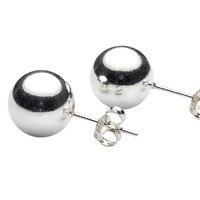 Sterling Silver Ball Stud Earrings .925 - High Polish 2mm-12mm