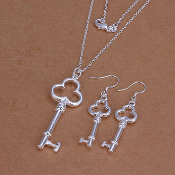silver plated key jewelry sets necklace bracelet bangle earring ring SMTS2 MP