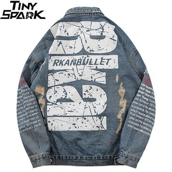 Vintage Denim Bomber Jackets Ripped Holes Big Letter Print Mens Hip Hop Jeans Jacket Streetwear 2018 New Distressed Denim Jacket