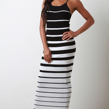 Striped Ribbed Knit Crisscross Back Maxi Dress