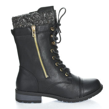Mango31 Black Pu By Forever, Round Toe Military Lace Up Knitted Ankle Cuff Low Heel Combat Boots